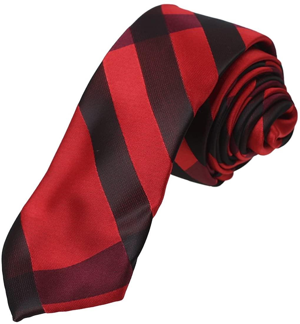 Dan Smith Dress Goods Slim Necktie Checkered Microfiber Skinny Tie For Mens With Free Gift Box