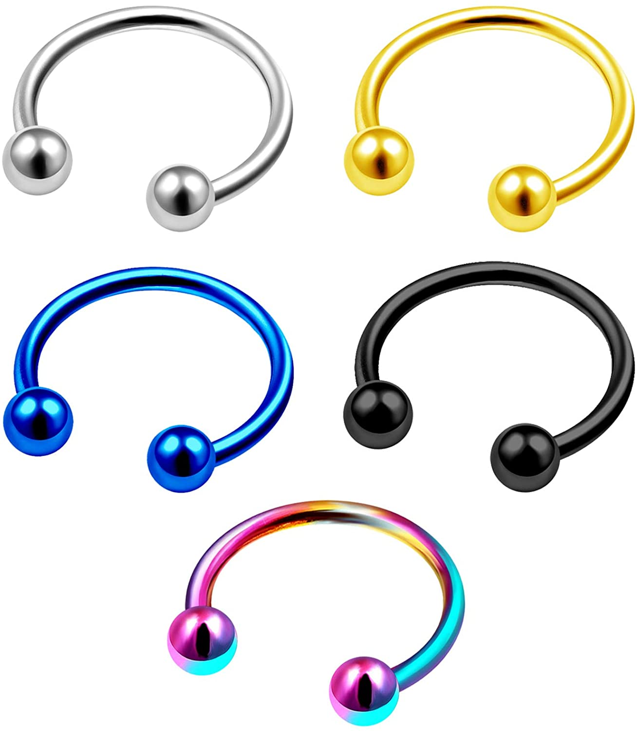 MATIGA 5Pcs Surgical Steel Anodized 18 Gauge Ring Horseshoe Piercing Jewelry Septum Lip Eyebrow Rook Cartilage 3mm Ball More Choices