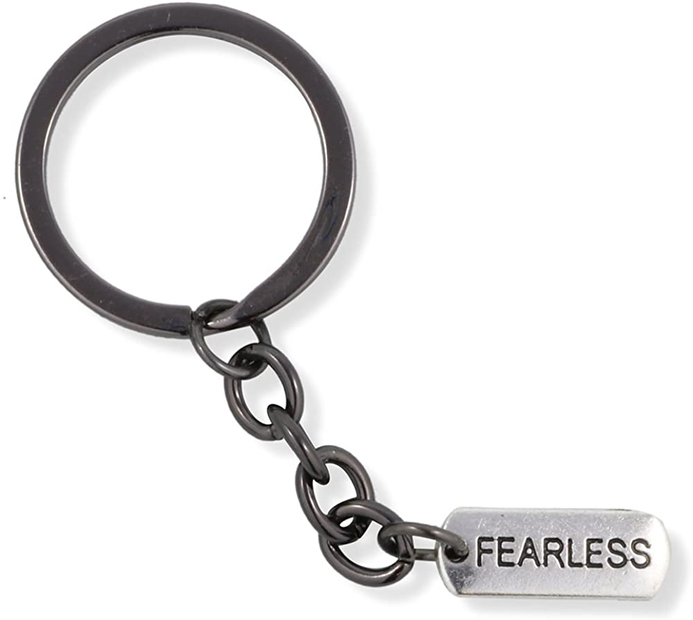 Emerald Park Jewelry Fearless Text Saying Charm Keychain