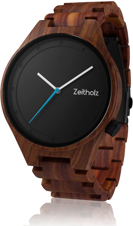 "Zeitholz Men's Wooden Watch, Model Stolpen - 100% Natural Sandal, Walnut or Rose Wood - ""Miyota"" 2035 Movement - Lightweight, Handmade and Hypoallergenic Analog Quartz Wrist Watch with Gift Box"