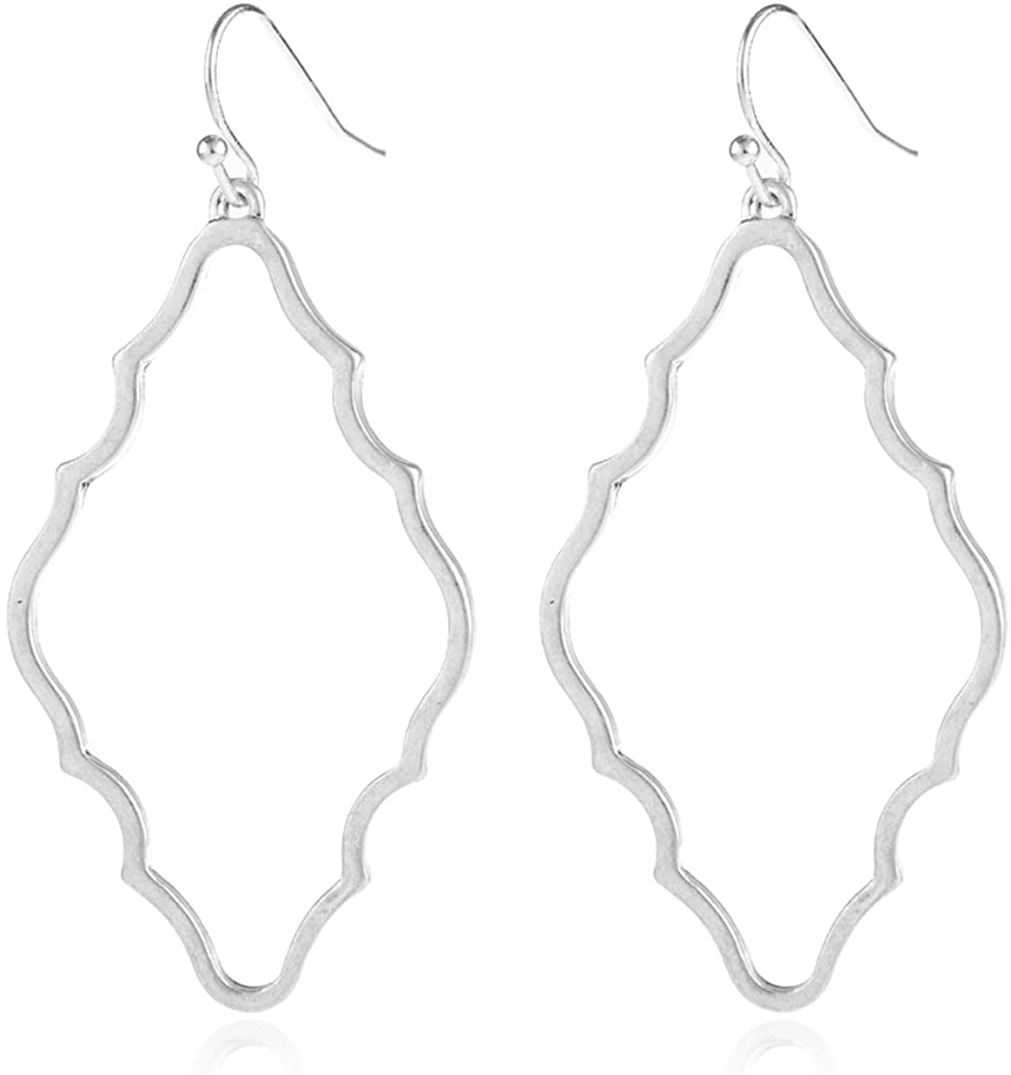 Moroccan Filigree Geometric Drop Earrings - Bohemian Metallic Cutout Hook Lightweight Dangles Flower Petal Leaf/Teardrop/Scallop/Circle/Quatrefoil