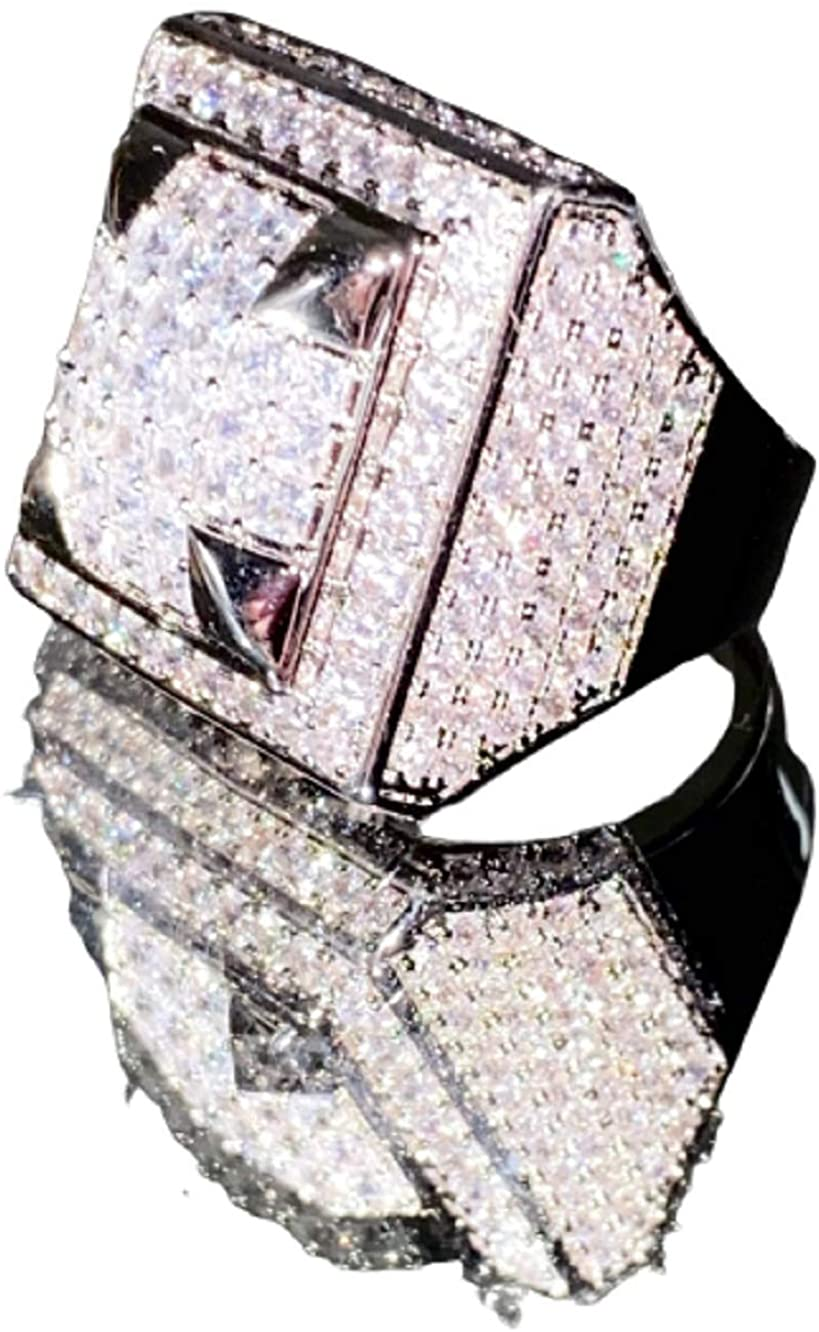 Shop-iGold 14k White Gold Finish CZ Iced Out Big Pinky Ring for Men Hip Hop - Men's CZ Ring, Perfect Ring, Wedding Rings, Promise Ring, CZ Engagement Ring, Wedding Bands 6-10