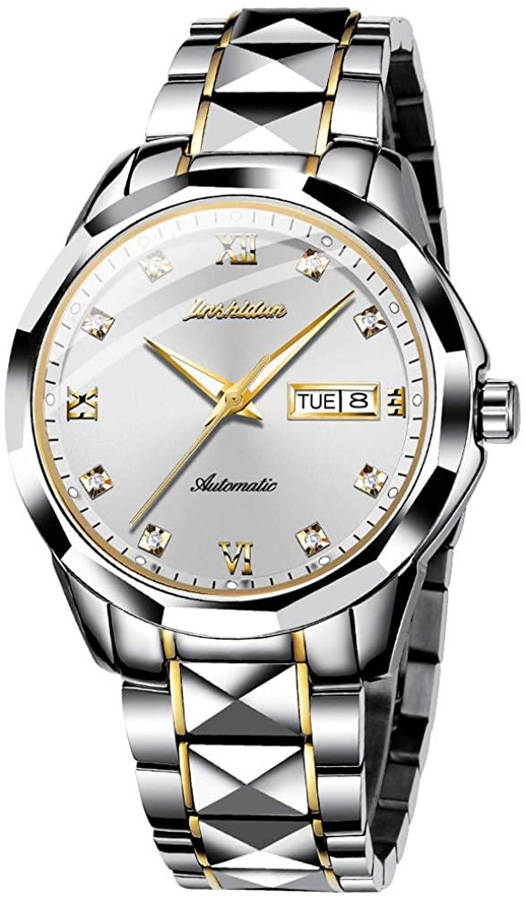 Swiss Brand Men Women Automatic Mechanical Watch Sapphire Crystal Business Dress Tungsten Stainless Steel Waterproof Luminous Date Two Tone