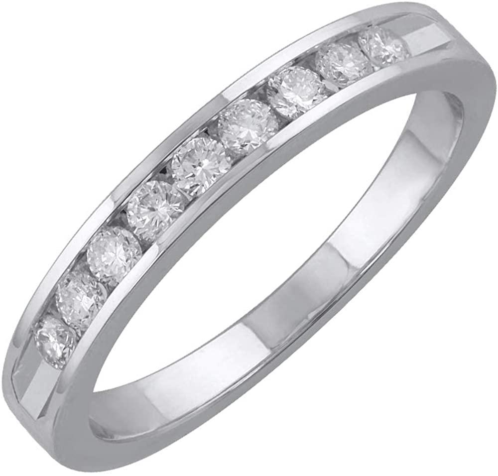 1/3 Carat Channel Set Round Diamond Wedding Band Ring in 14K Gold
