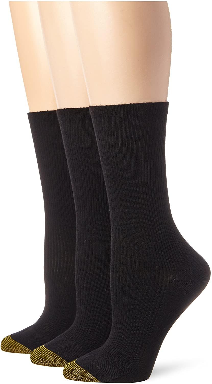 Gold Toe Women's Premium Cotton Non Binding Crew Sock (Pack of 3)