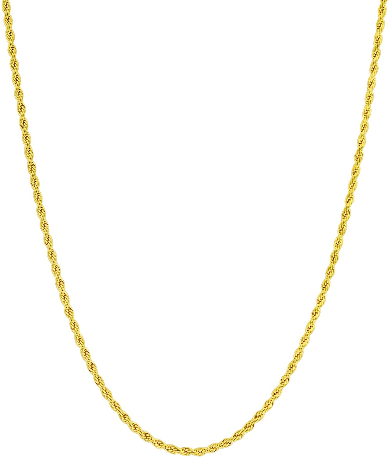 Gem Avenue Stainless Steel Gold Plated 2mm Diamond-Cut Rope Chain Necklace