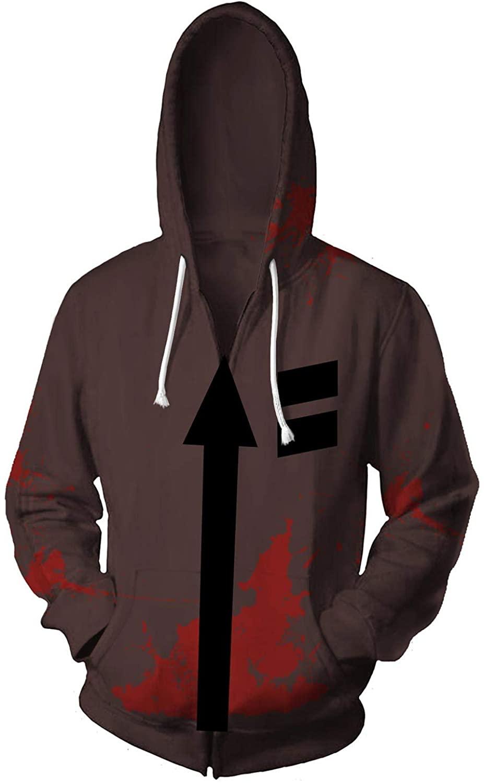 Mesodyn Unisex Printed Zack Jacket Adult Zipper Hoodie Halloween Cosplay Costume