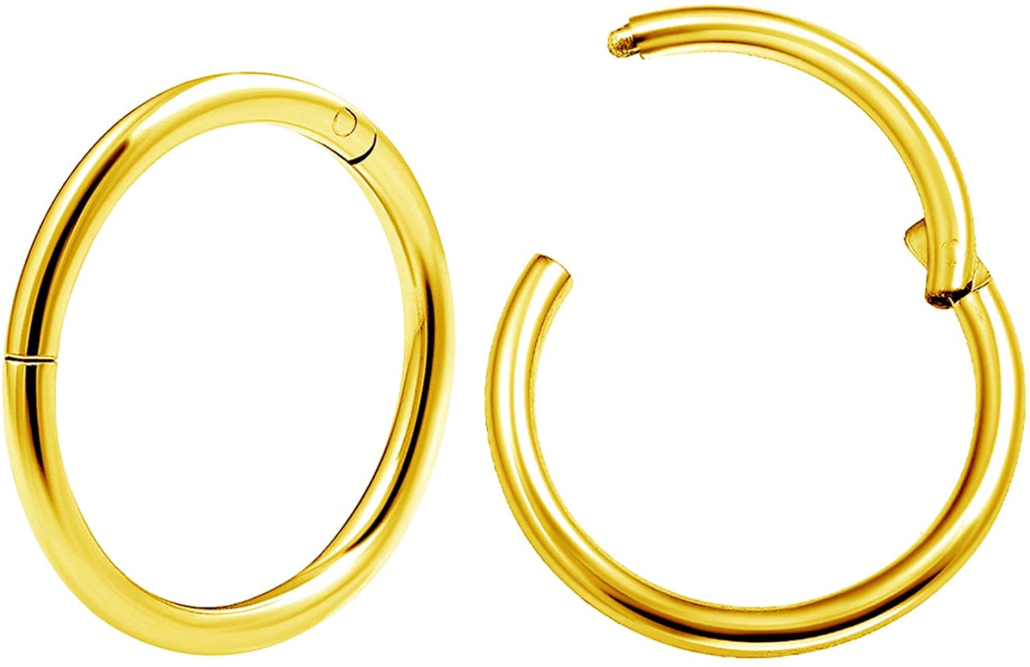 MATIGA 2Pcs Anodized Surgical Steel 16g Hinged Clicker Segment Piercing Jewelry Helix Septum Tragus Nose Cartilage More Choices
