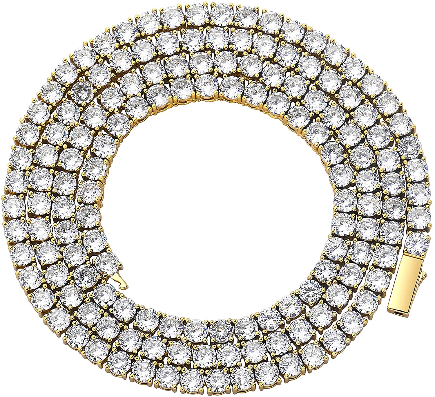 TOPGRILLZ Diamond Choker Tennis Necklace for Women 1 Row 3-6mm 14K Gold Plated Iced Out Cubic Zironia Tennis Chain for Men Customized Link Clasp
