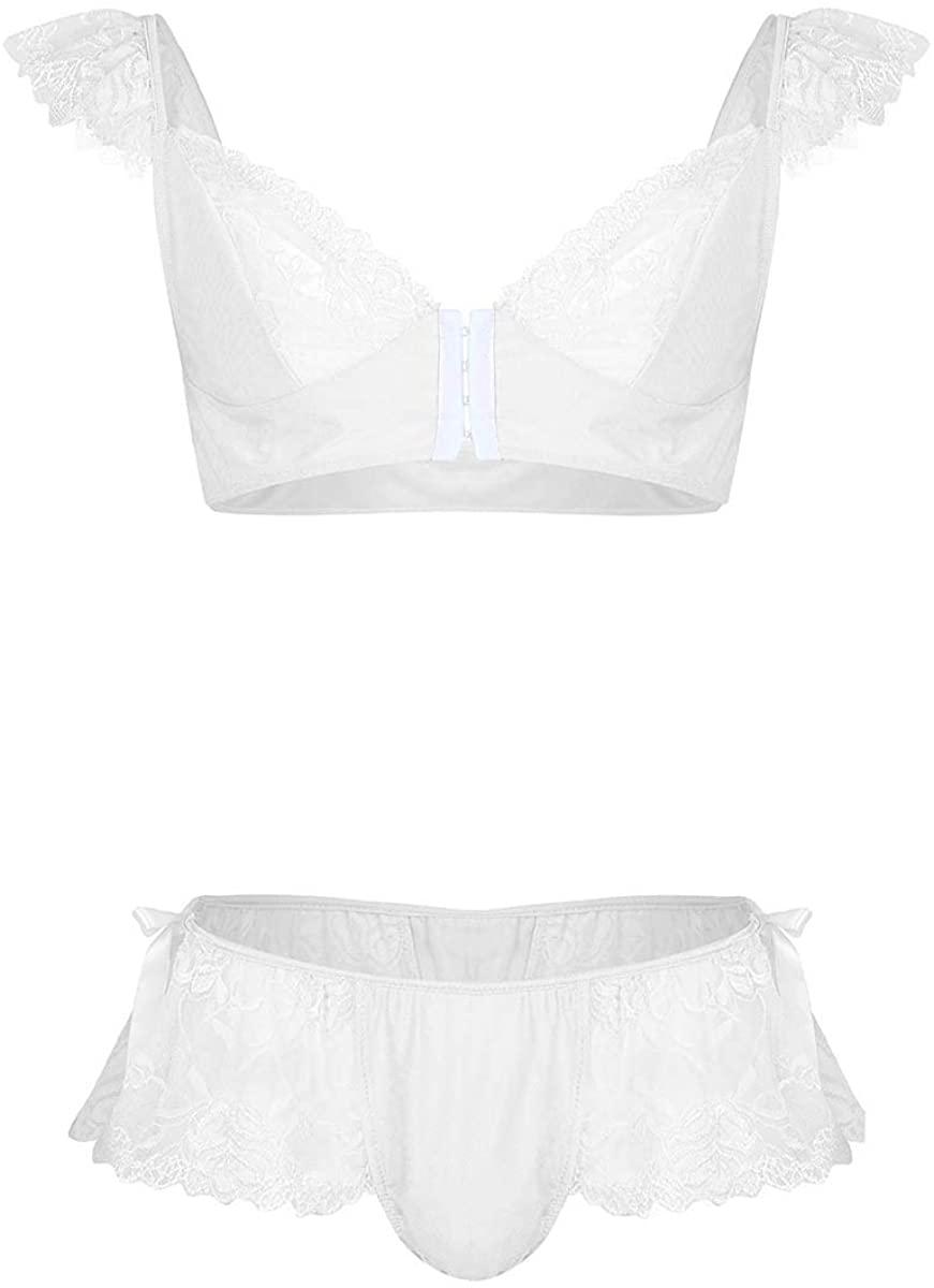 YONGHS Men's Sissy Lingerie Set Puff Sleeves Bra Top with Crossdress Panties Girly Nightwear Pajamas