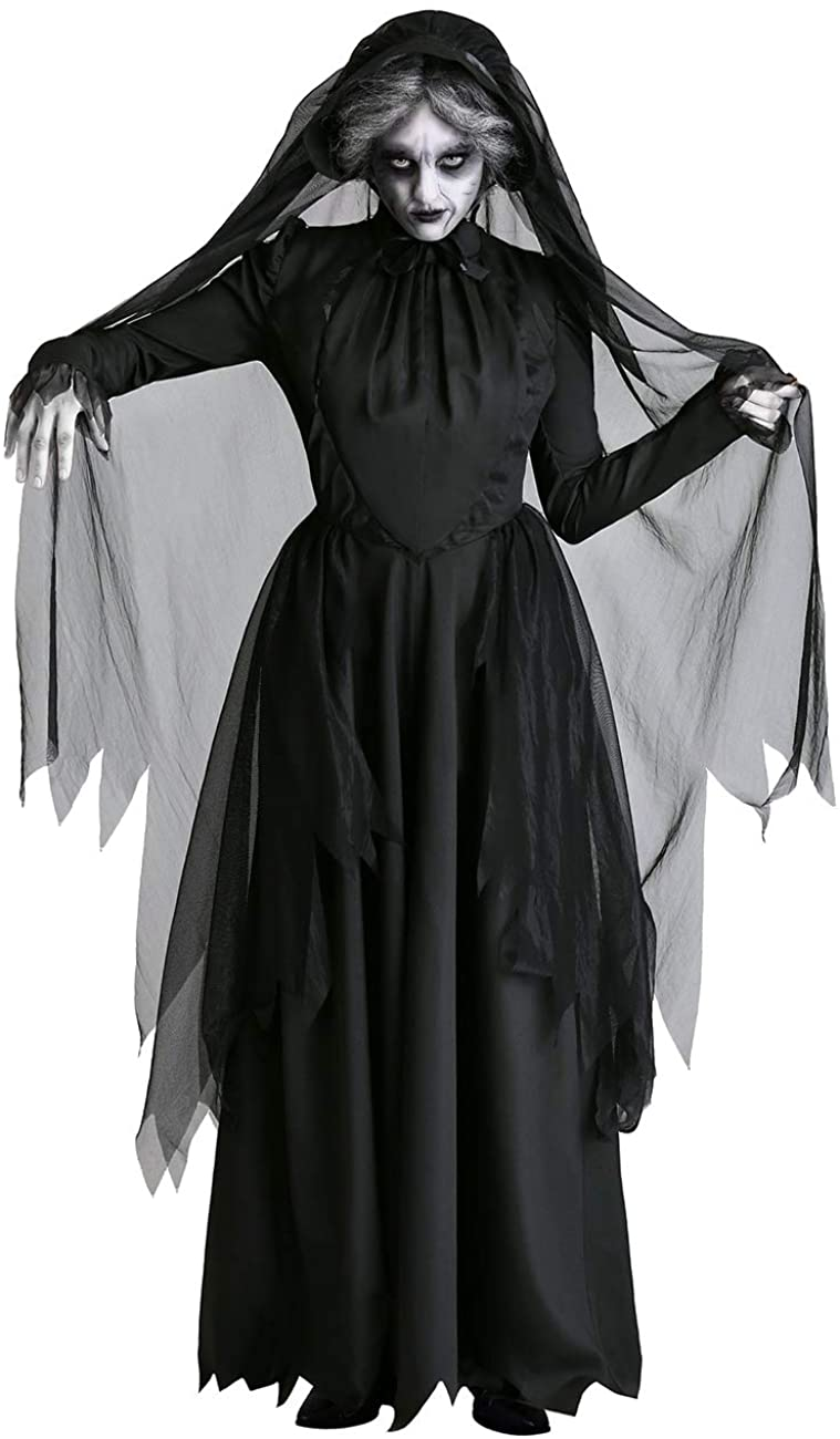 DoLoveY Halloween Adult Ghost Bride Queen Dress Cosplay Devil Vampire Role Play Dark Witch Costume