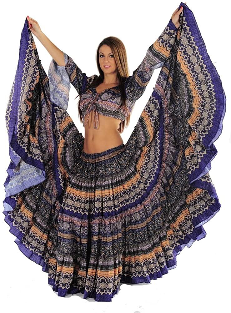 MissBellyDance Belly Dancer 25 Yard Skirt and Top Costume Set | Meli du Chant