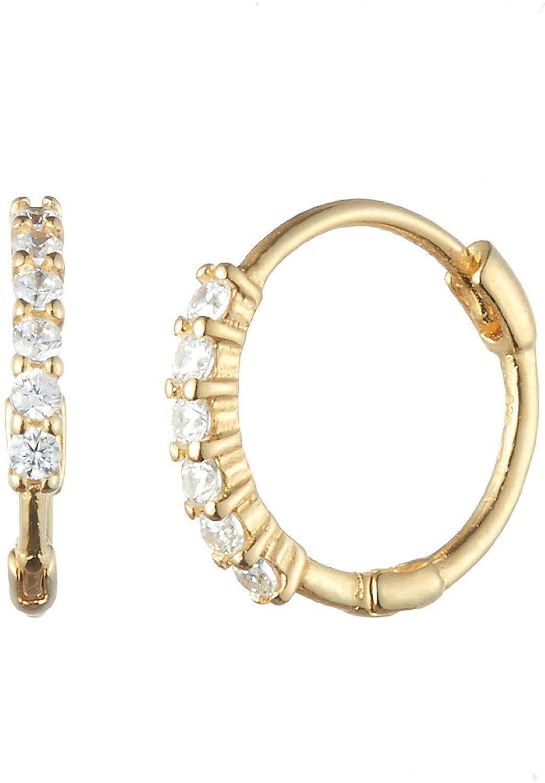S'SECONDO 925 Sterling Silver 6-Cubic Line Huggie Hoop Earrings for Women and Girls