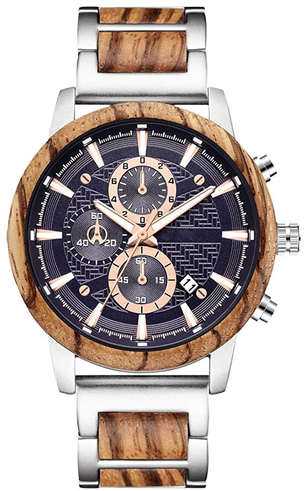 Wooden Watch for Men Women, Stylish Chronograph Military Casual Calendar Wood Watches