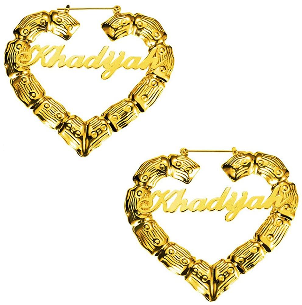 Custom Bamboo Earrings Hoops Gold Personalized Statement Big Heart Circle Hip-hop Name Earrings for Women Girls