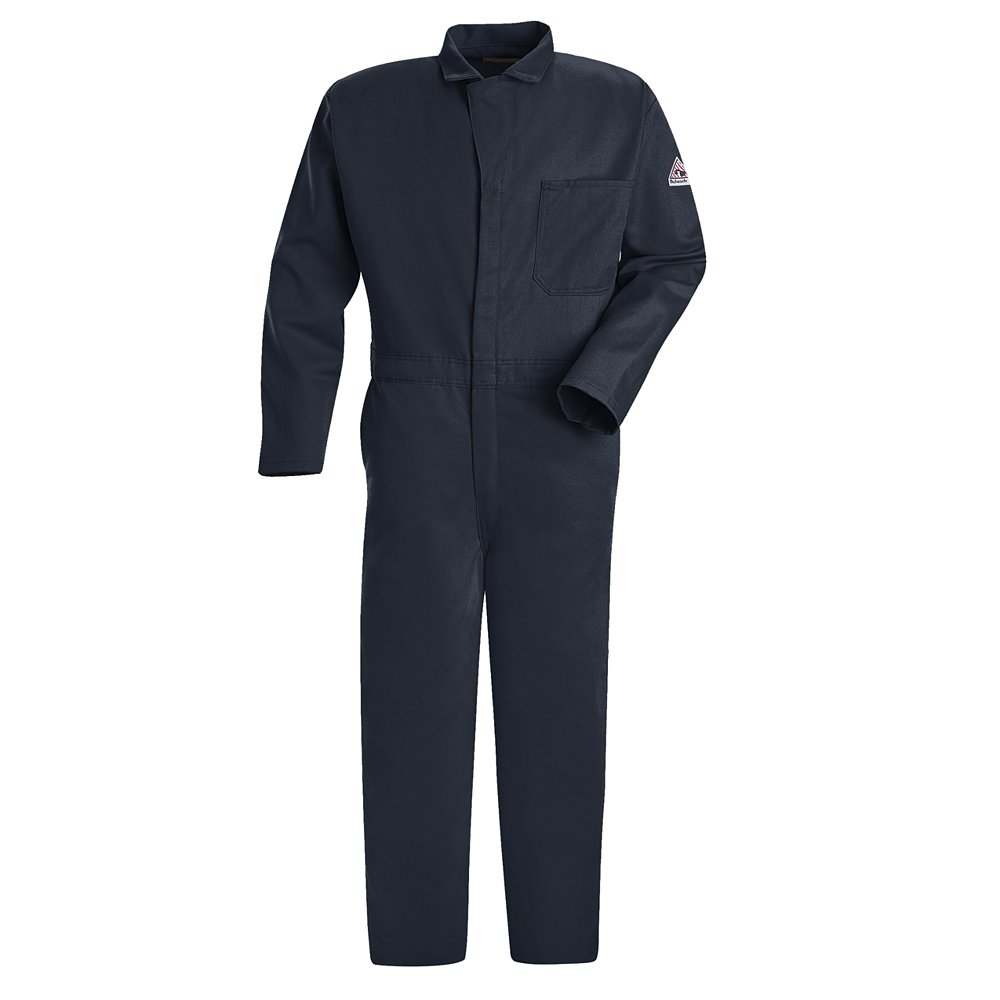 Flame Resistant Contractor Coverall, Navy Blue, M