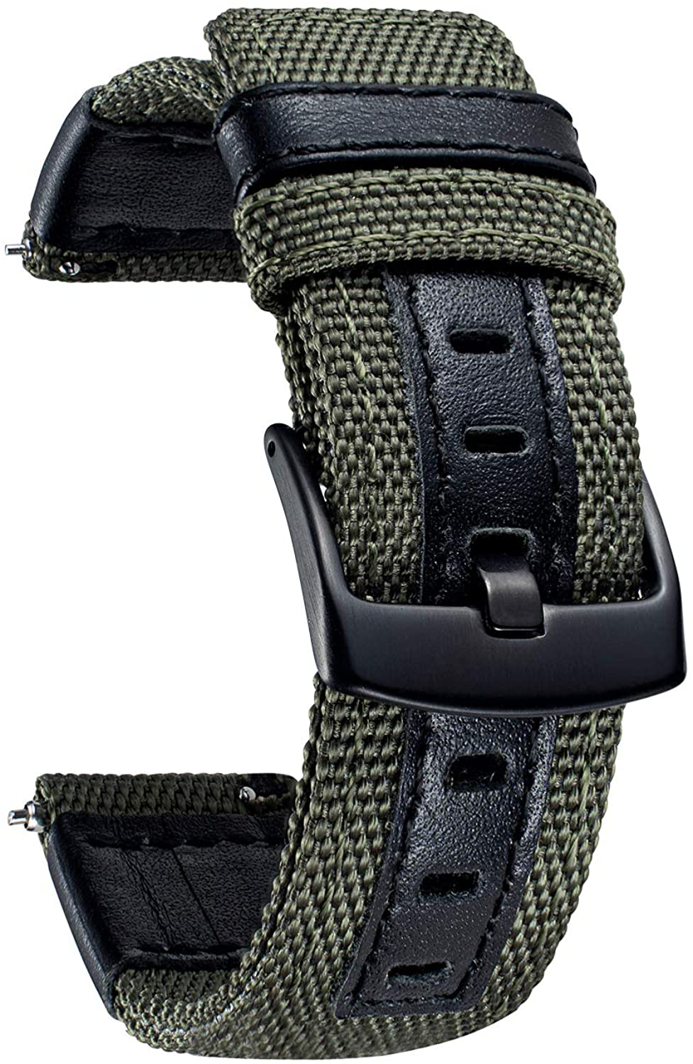 BINLUN Watch Bands Classic Canvas Fabric with Genuine Leather Hybrid Watch Straps Replacement Wristband with Black Buckle in 6 Colors (Brown Green Black Blue Khaki Red) 3 Sizes (20mm 22mm 24mm)