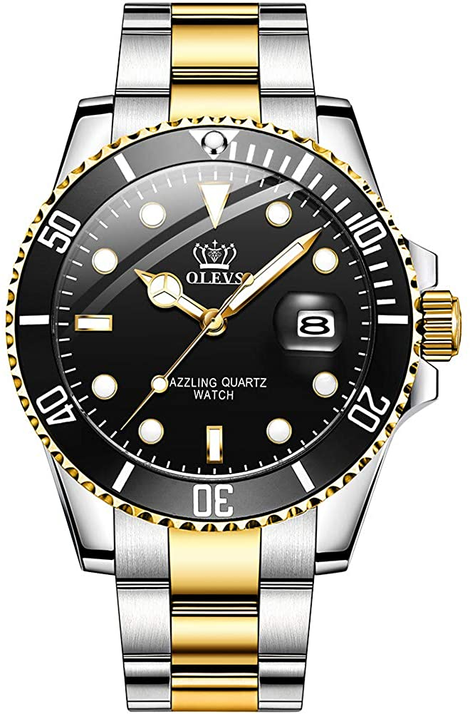OLEVS Men Stainless Steel Watch,Fashion Luxury Classic Quartz Analog Watches with Date,Black/Blue/Green Face Watch for Men,Two Tone Steel Band Wrist Watch 2020…