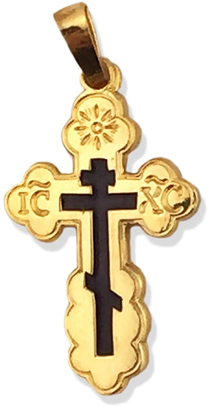 Religious Gifts Orthodox Three Bar 14 Karat Yellow Gold Cross Blue Enamel 1 Inch