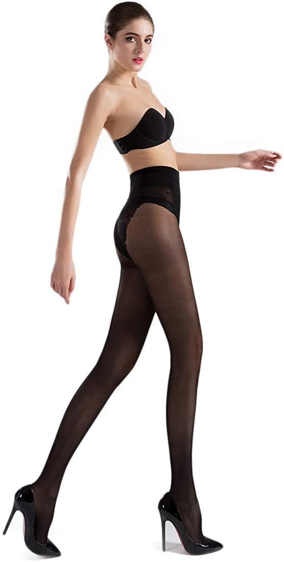 40 Denier Bikini Crotch Silky Tights Pantyhose for Women Control-Top Sheer Lace Skinny Stockings