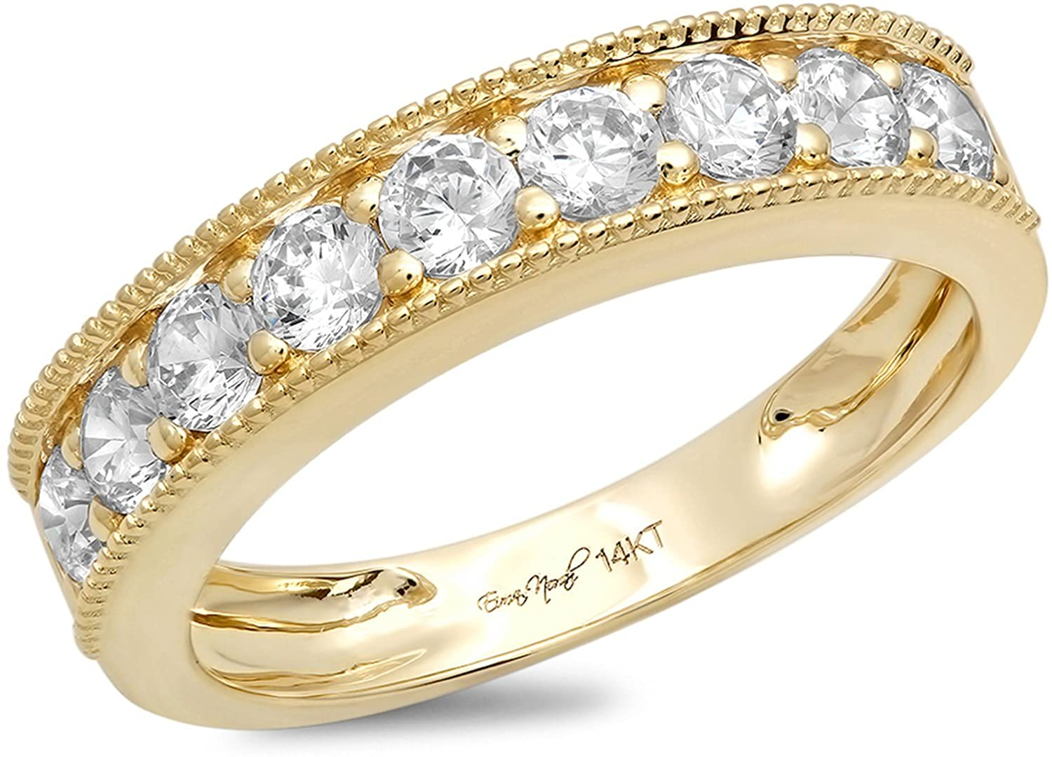 Clara Pucci 1.2 Ct Round Cut Unisex Pave Engagement Promise Wedding Bridal Anniversary Ring Band 14K Yellow Gold