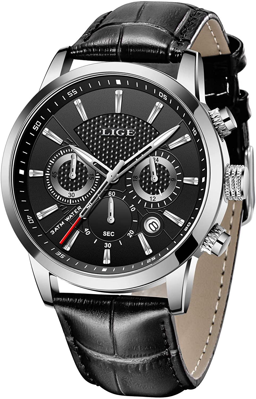 LIGE Mens Watch Fashion Sports Chronograph Waterproof Analog Quartz Brown Leather Strap Casual Wrist Watch…