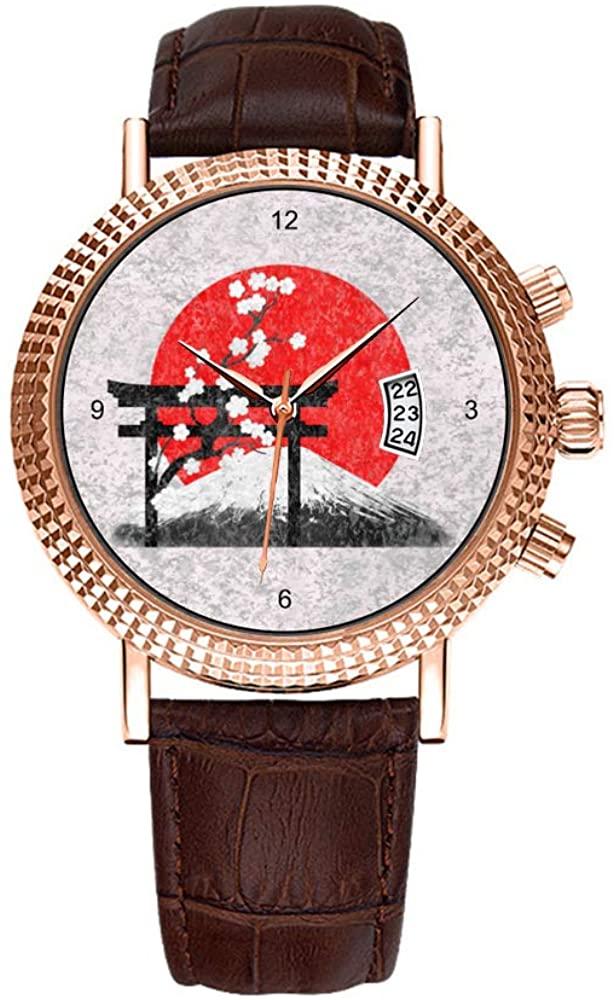 Men Watch Luxury Business Men Watch Fashion Roman Waterproof Men's Watch Leather Calendar Clock Christmas Watch Flag and Symbols of Japan Wrist Watch