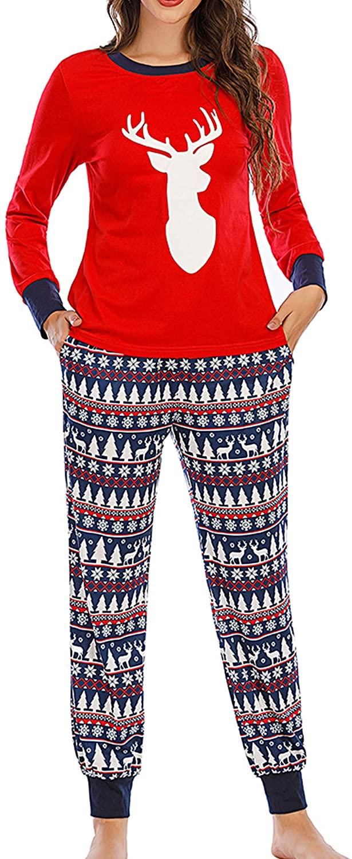 Banamic Pajamas Set Long Sleeve Sleepwear Womens Christmas Pjs Set Nightwear Soft Pj Lounge Sets