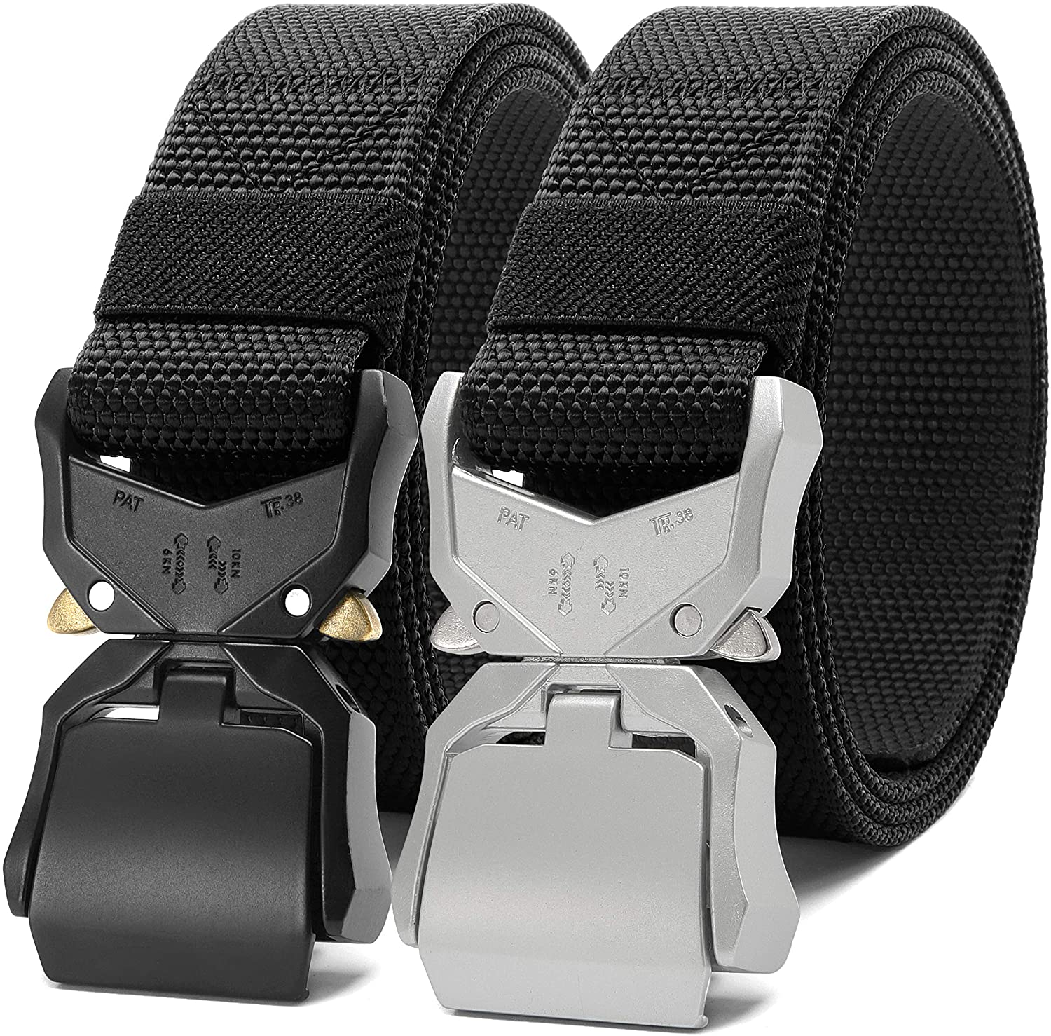 Mens Tactical belt 2 Pack 1.5 Inch, Fashon Military Style Riggers Web Belt for Men with Heavy-Duty Quick-Release Buckle