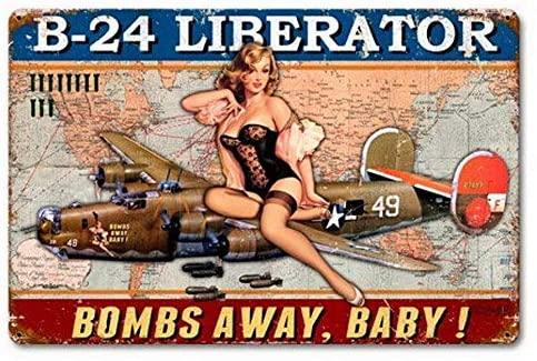 b-24 Liberator Pinup Girl Powder Coated Rust Vingtage Metal Sign Garage Oil Man Cave Signs 8X12 Inch