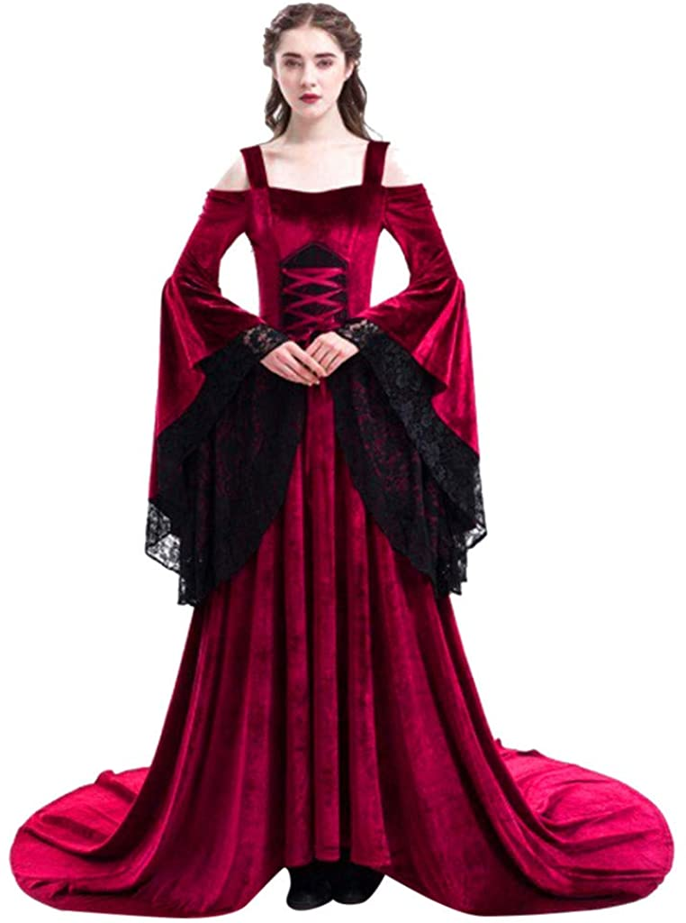 Women Dress Retro Medieval Costumes Fancy Party Princess Renaissance Cosplay Lace Long Sleeved Dress