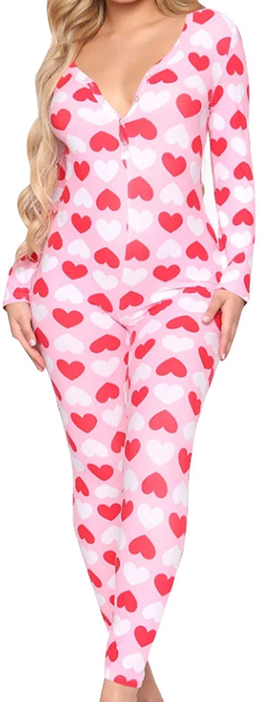 farrubbyine8 Cute Womens Long Sleeve Jumpsuit Pajama One Piece Bodysuit Bodycon Rompers Overall Pjs Sleepwear
