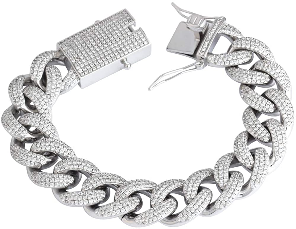 GOLD IDEA JEWELRY 18mm Iced Out Cubic Zirconia Hip Hop Miami Cuban Link Chain for Men (8.5, White-Gold-Plated)