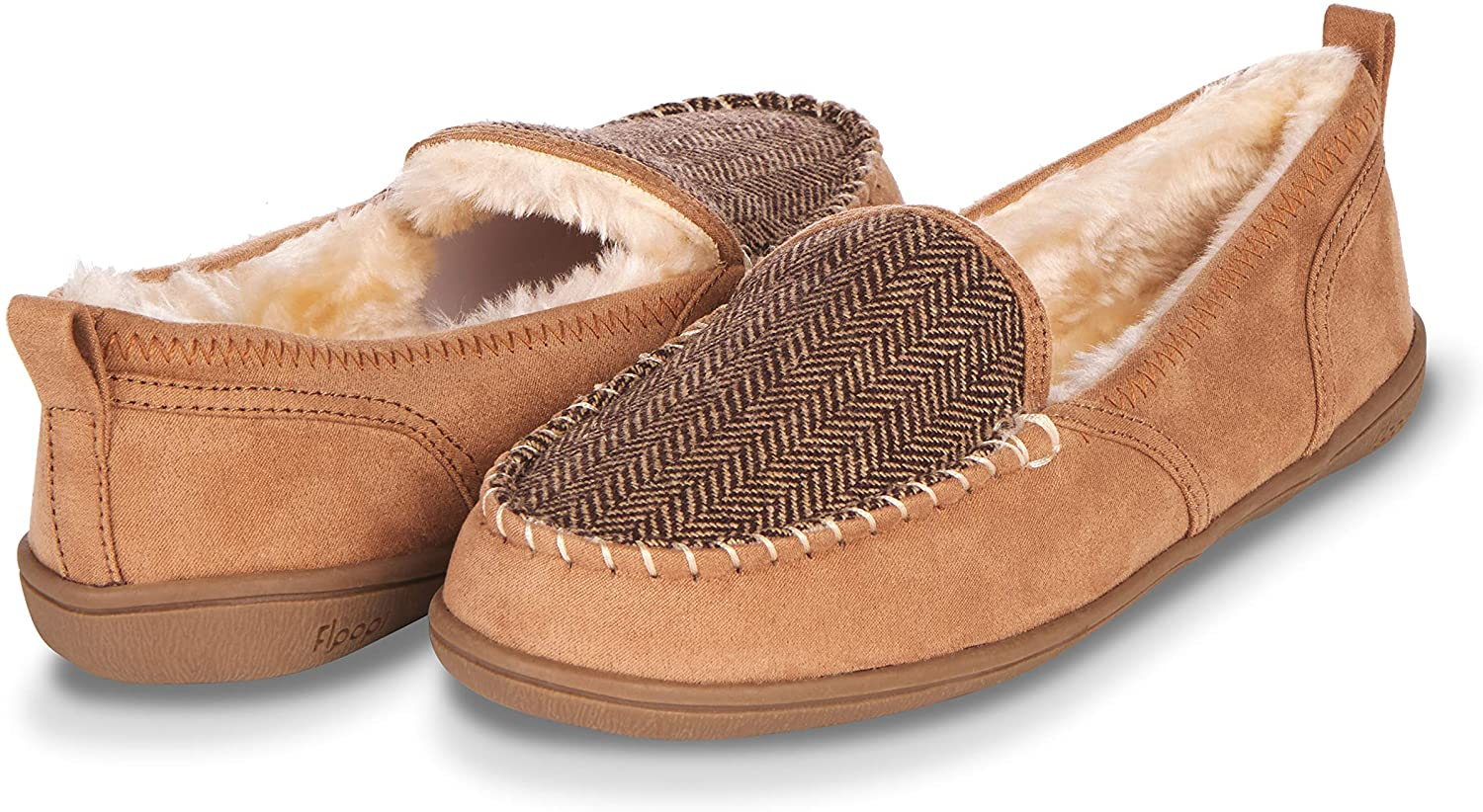 Floopi Moccasin Slippers for Women- Cozy Indoor-Outdoor Home-Bedroom Slip Ons- Micro Suede Exterior, Memory Foam Sole, Hard Rubber Outsole, Faux Fur Lining