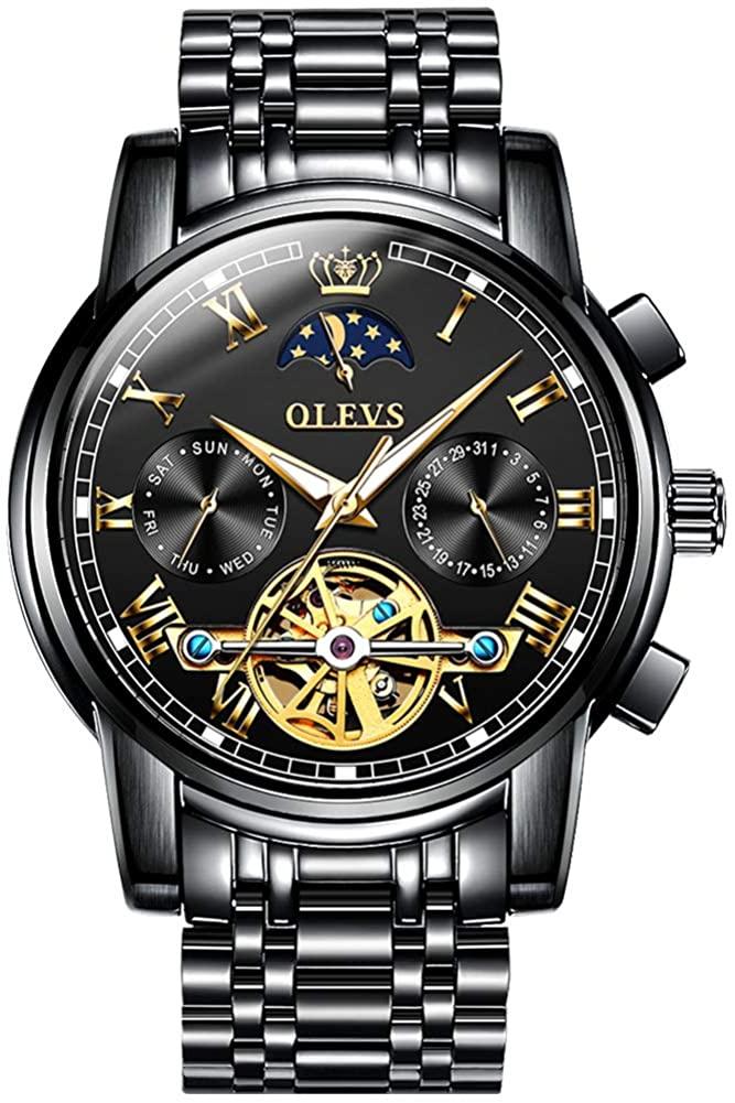 OLEVS Watch Mechanical Automatic Watch Men's Automatic Winding Men's Watch Luxury Waterproof Stainless Steel Men's Watch