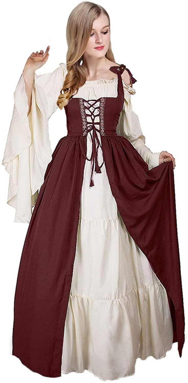 Newcos Boho Renaissance Costume for Women Halloween Irish Medieval Dress