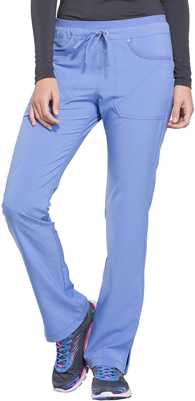 CHEROKEE iflex Mid Rise Tapered Leg Drawstring Pants, CK010, S, Ciel Blue