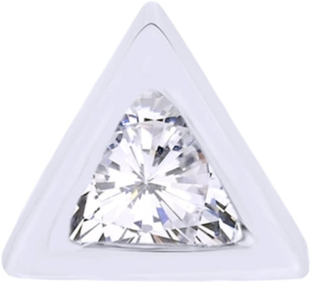 Trillion Cut Natural Diamond Geometric Open Circle Drop Single Stud Earring In 14K Solid Gold
