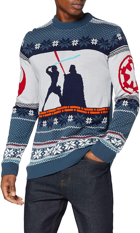 Numskull Unisex Official Star Wars Luke Vs Darth Vader Knitted Christmas Jumper for Men or Women - Ugly Novelty Sweater Gift Blue