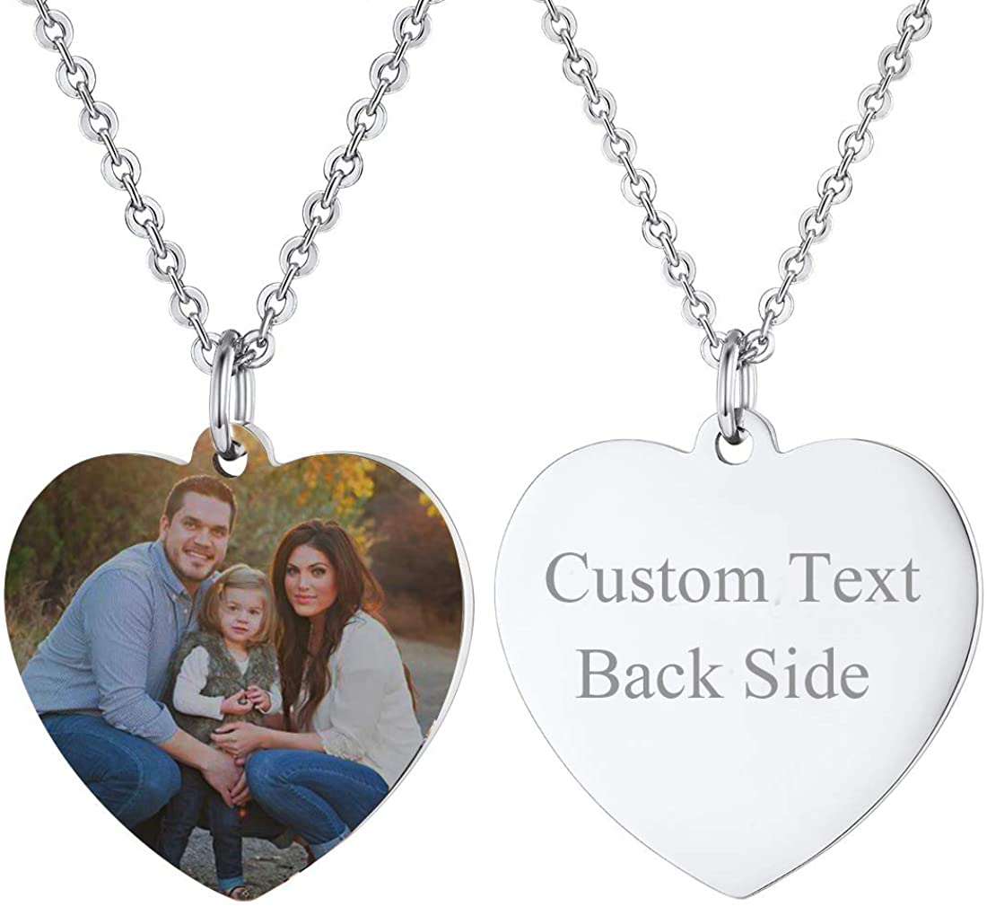 Custom Photo Necklace Men Women Personalized Jewelry Customized Any Picture Pendant Stainless Steel Rope/Spiga/Tennis Chain 18-30 Inch, Mothers or Lover Gift