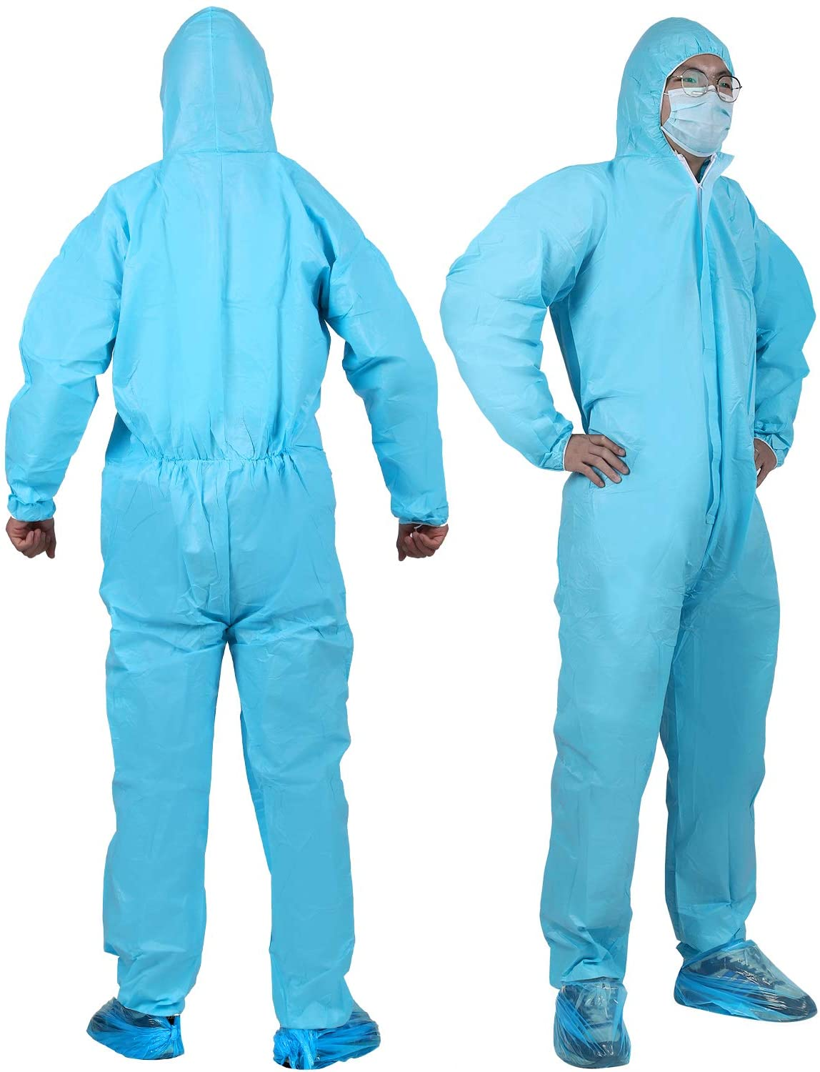 YIBER Disposable Protective Coverall Suit, Made of SF Material, Excellent air permeability and water repellency - 5 PCS/PACK (XXL, Blue)