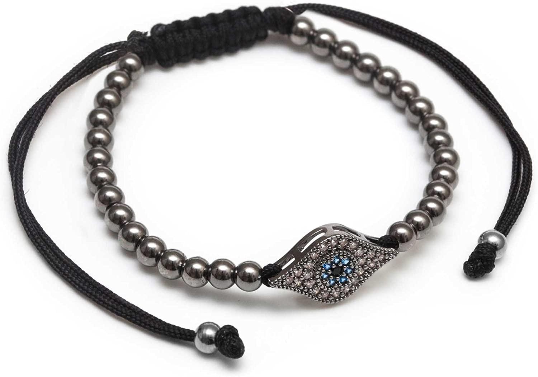 ZENGER Jewelry Husdon Macrame Bracelet - 4mm Bead, Rhodium Plated Stainless Steel, Adjustable, Gunmetal