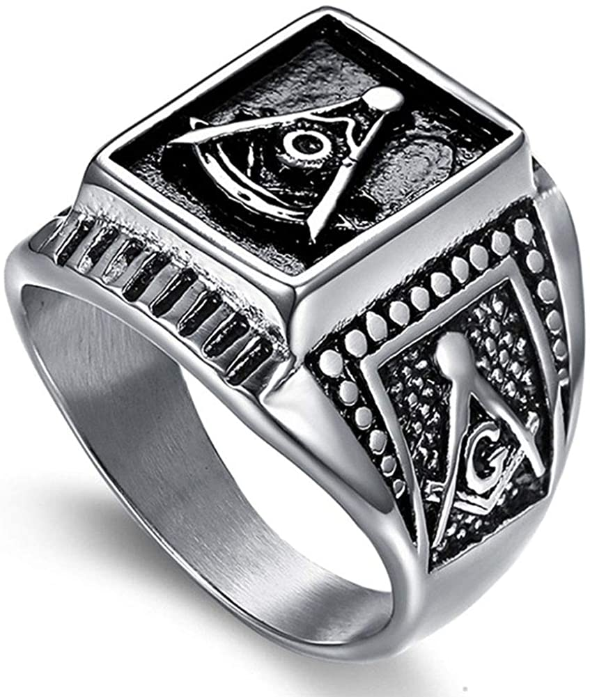 caipinghaihuodian Stainless Steel Masonic Religious Ring Jewelry Retro AG Carved Freemason Big Ring for Men Silver Black Tone