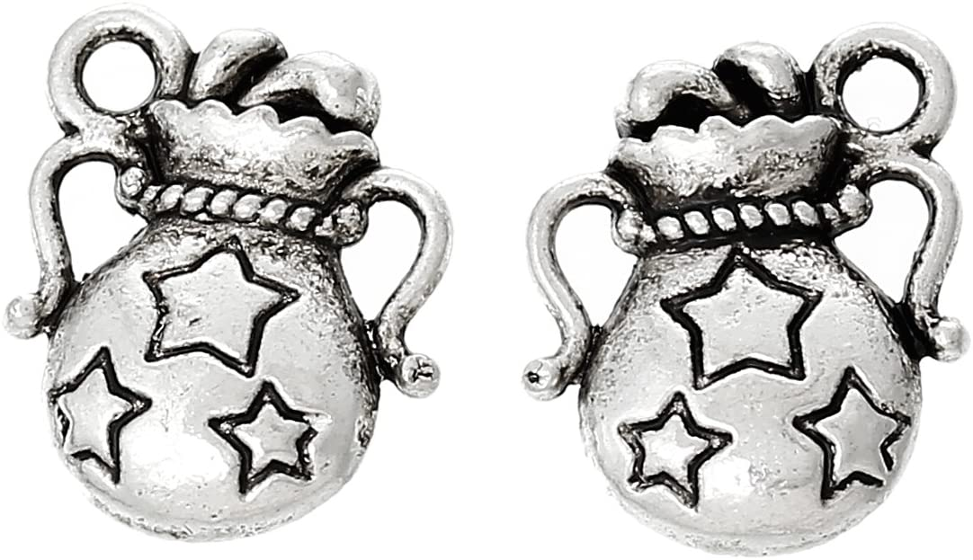 PEPPERLONELY Brand 100 Piece Antique Silver Aquarius Zodiac Star Pattern Carved Charm Pendants 14mm x12mm(4/8 x 4/8 Inch)