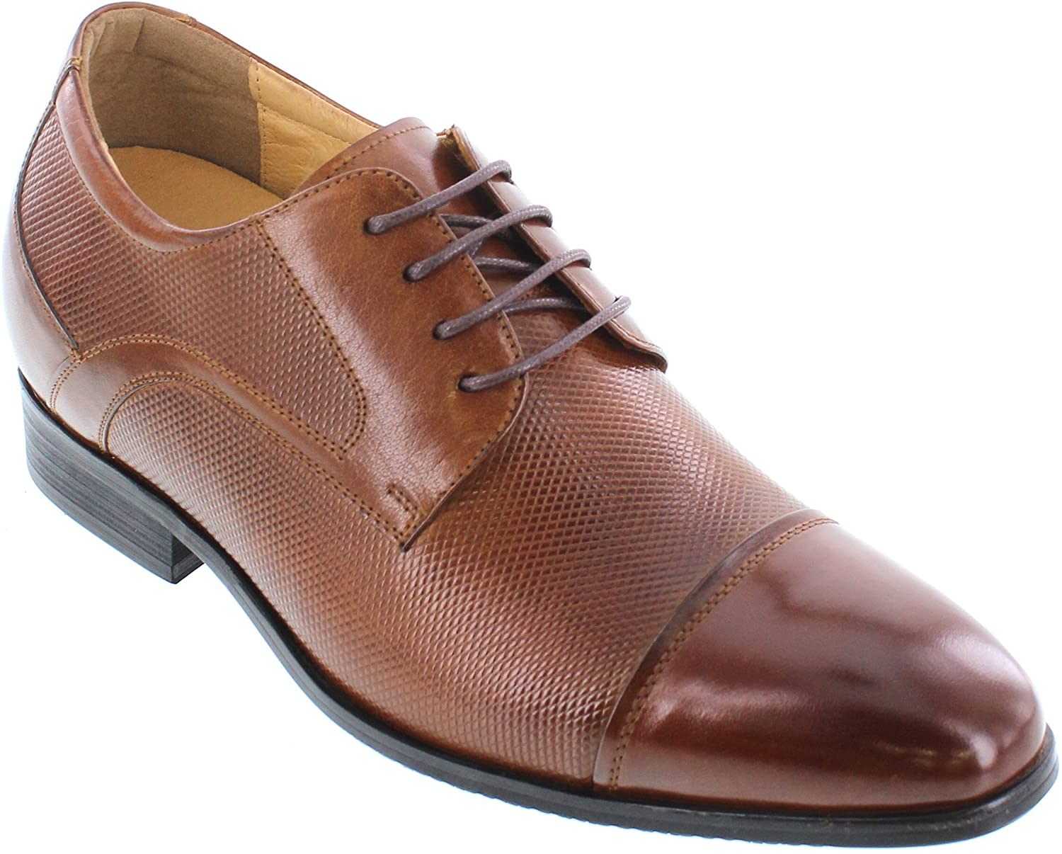 CALTO Men's Invisible Height Increasing Elevator Shoes - Brown Premium Leather Lace-up Formal Oxfords - 3 Inches Taller - Y40201
