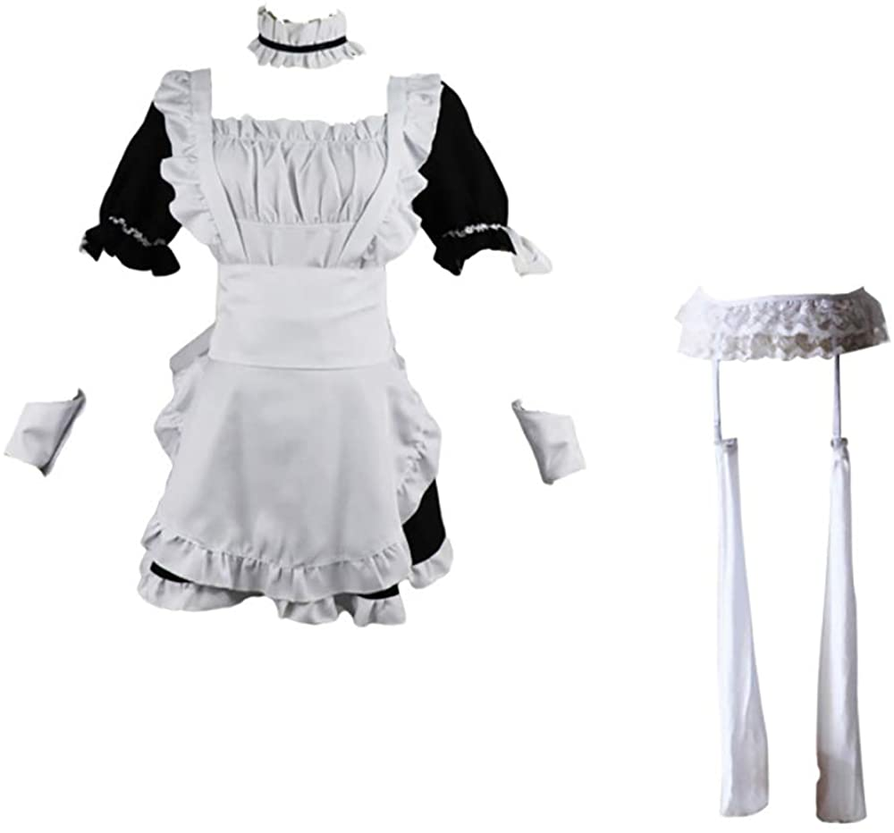 Maid Uniform Skirt Cosplay Anime Halloween Costume Novelty Uniform Maid Outfit Dress Suit+Wig+Rabbit