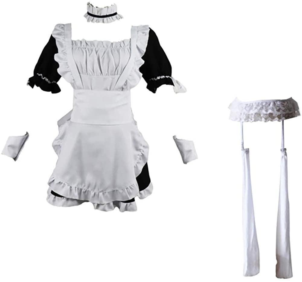 Maid Uniform Skirt Cosplay Anime Halloween Costume Novelty Uniform Maid Outfit Dress Suit+Wig+Rabbit