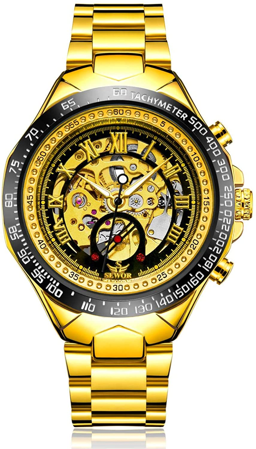 SEWOR Fashion Delicate Hollow Carving Mechanical Automatic Self Wind Wrist Watch for Man