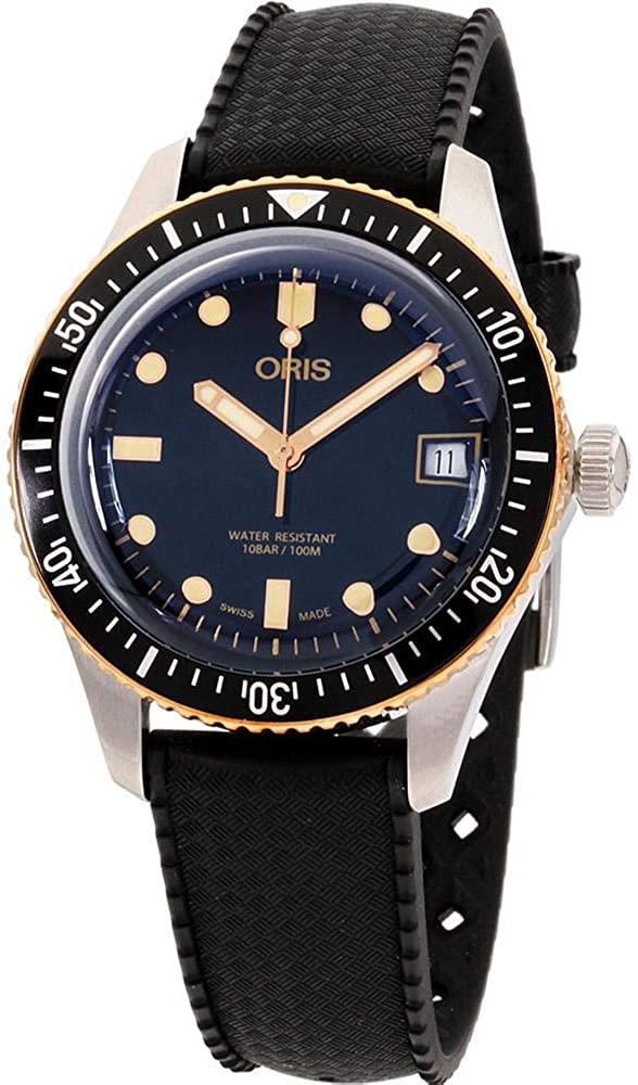 Oris Divers Sixty-Five Black Dial Silicone Strap Men's Watch 73377474354RSBLK