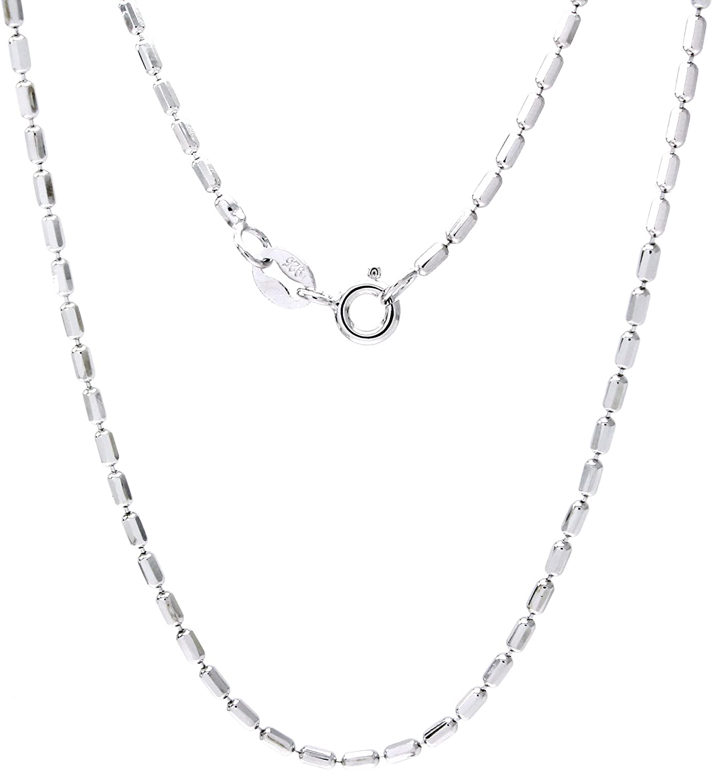 Jewel Zone US Sterling Silver Italian Crafted Palline .925 Rhodium Chain Necklace 1.5mm, 16